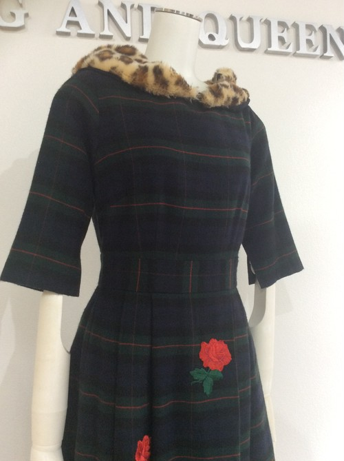 Green Plaid Wool Dress With Leopard Collar 緑グリーンチェックウールワンピース KQBZW0124