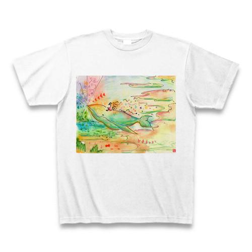 『お絵かきシャーマン』ななちゃんの、空飛ぶクジラTシャツ