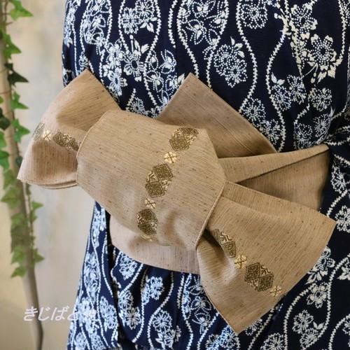 【T様ご予約品】正絹紬 煤竹色の半幅帯
