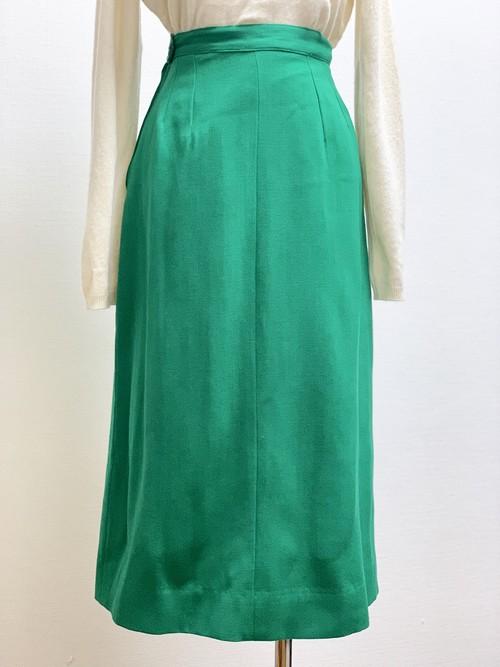 Vintage Wool Long Tight Skirt Green
