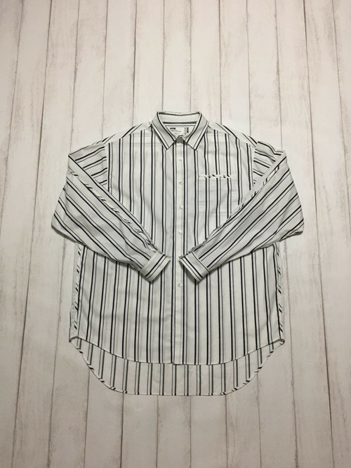 back piping stripe shirt / white