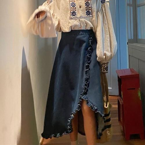 フリルデニムスカート ・18086