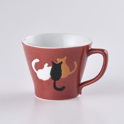 なかよし猫 Mマグカップ(赤)
