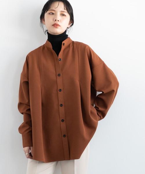 タックバンドカラーシャツジャケット/BRN