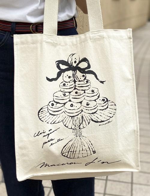 【シルクスクリーン手刷り】マカロンドールキャンバストートバッグ/アマビエさんシールプレゼント付き