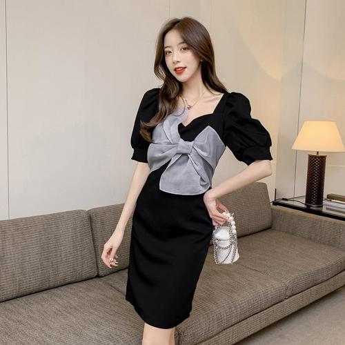 【dress】ファッションand清新!リボン切り替えデートワンピース大活躍2色 M-0517