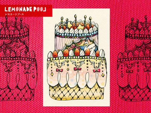 お祝いスワンケーキポストカード★5枚セット