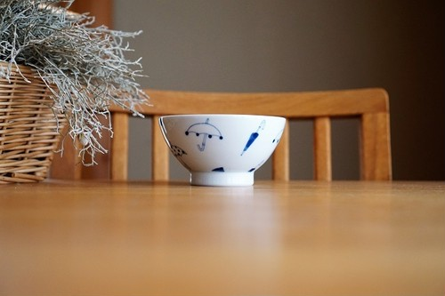 砥部焼/くらわんか茶碗(大)/傘/森陶房kaori