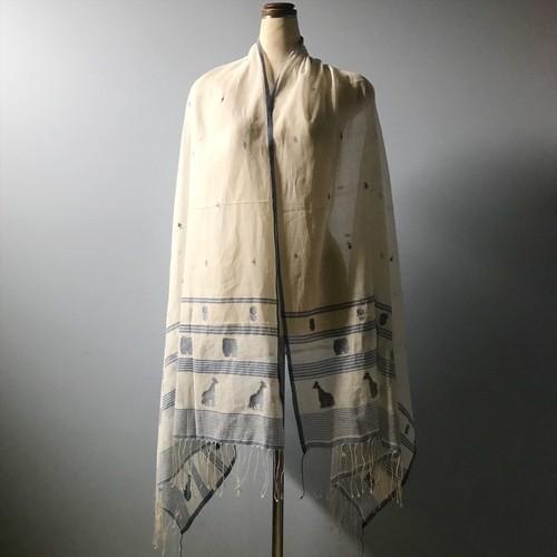ジャムダニ織り ストール(キリン、太鼓、花)