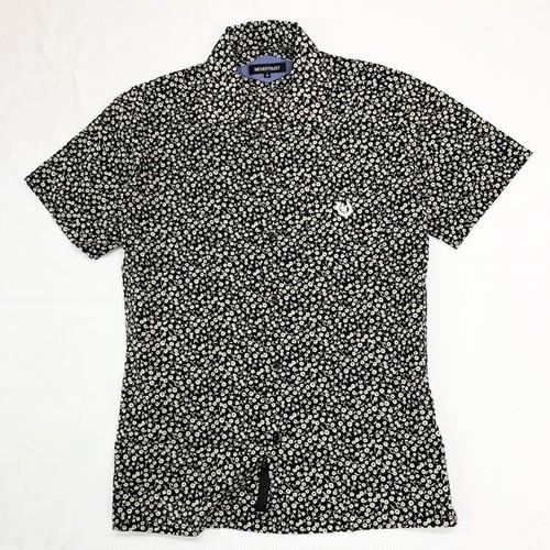 フラワープリント・ワンナップカラー半袖シャツ Black / White