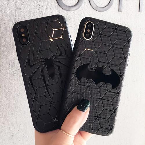 オリジナル iphone Xケース 浮き彫り コウモリ 蜘蛛 アイフォン8 プラスケース 黒 かっこいい iPhone7ケース 芸能人愛用 耐衝撃