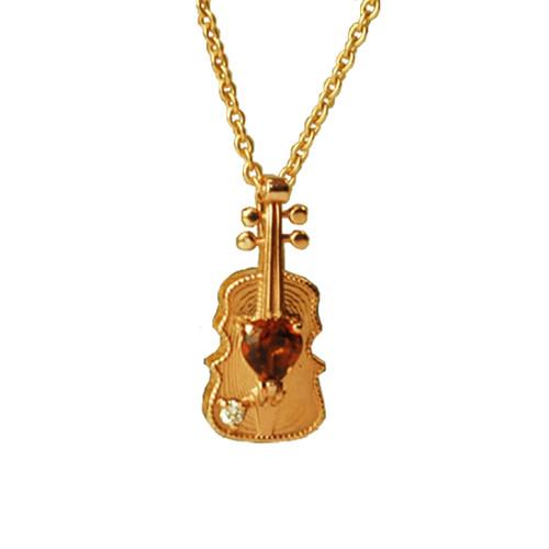 K10・Anne Bonnyバイオリン&ガーネットピンクゴールドネックレス