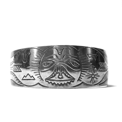 Vintage Northwest Coast Haida Sterling Silver Whole Bangle