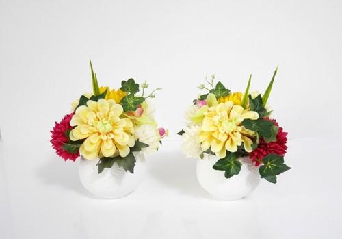 ヒューネラルアレンジメント2個対セット:仏花*造花001