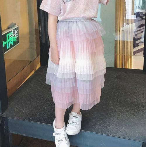 2950子供キッズスカート 可愛いキッズスカート チュールスカート  レインボー カラー100cm-130cm