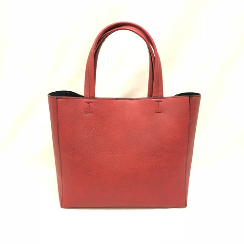 Fake Leather Mini Tote [Red]