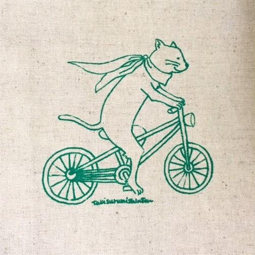 A5ブックカバー(縦書き用)/柄:自転車猫のプラハ