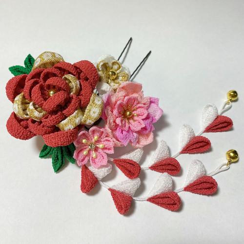 牡丹と桜のつまみ細工かんざし
