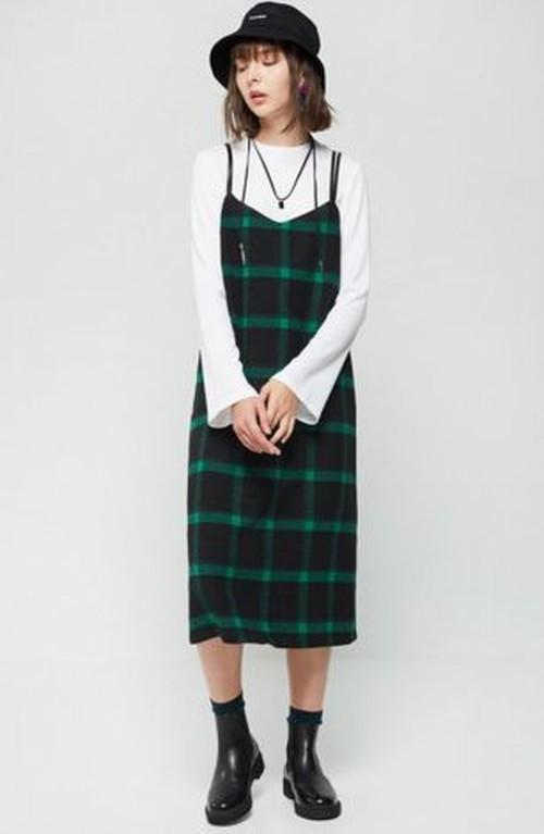 ガーリーなチェック柄サスペンダー付ハイウエストキャミデザインスカート♡
