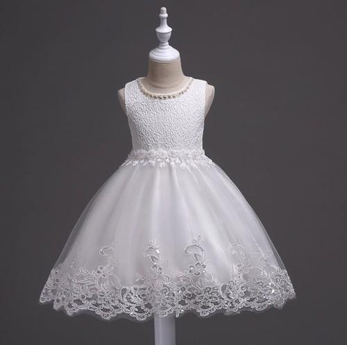 コピー:子供ドレス 130cm  白 ワンピース 女の子 発表会 結婚式 パーティー フォーマル 七五三