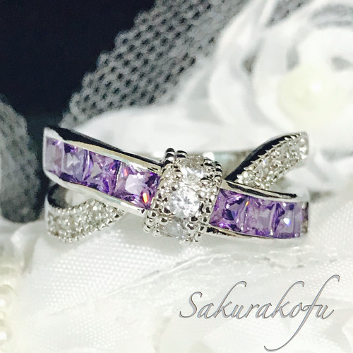 【送料無料】秋冬モード B014 Cross Ribbon Amethyst Ring