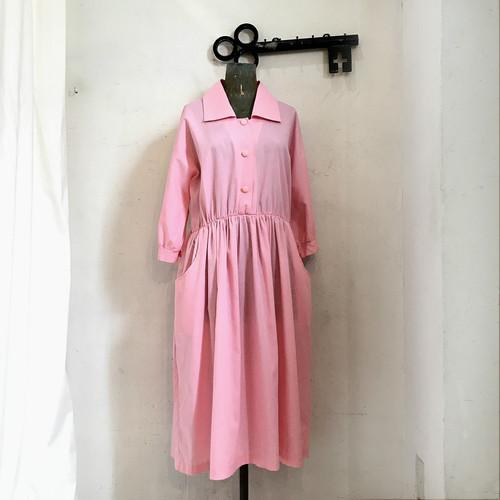 ピンク 襟付きフレアワンピース ヴィンテージ