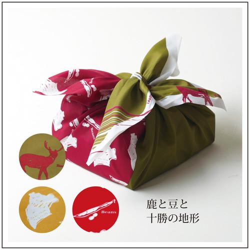 十勝柄ラッピング風呂敷(鹿と豆/緑)