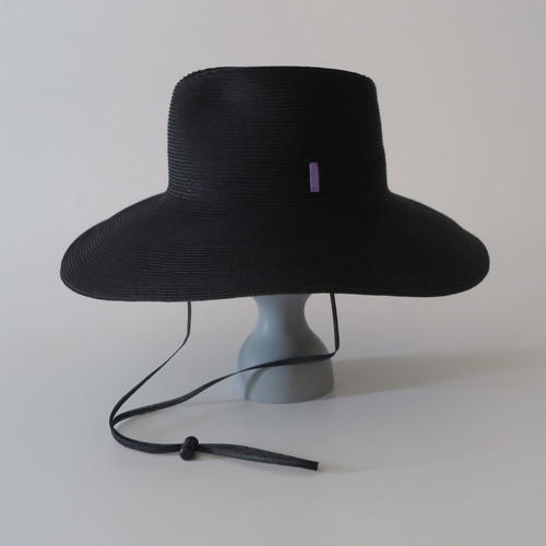 SS20-BE-5 Paper Braid Long Brim Hat BLK