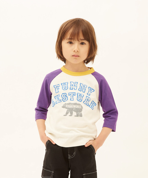 クレイジー配色ラグラン7分袖Tシャツ