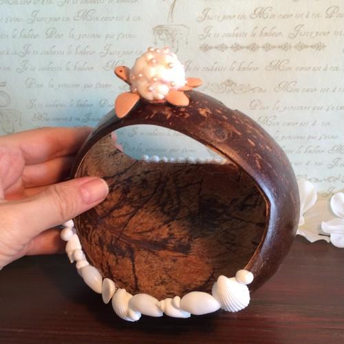 ココナッツの実の小物入れ!貝殻とパールビーズの子ガメさん付き