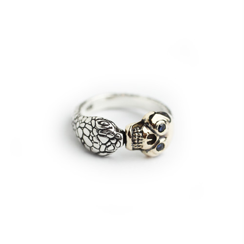 """The Second"" Memento Mori Skull Ring/10K gold&silver with stone eye"