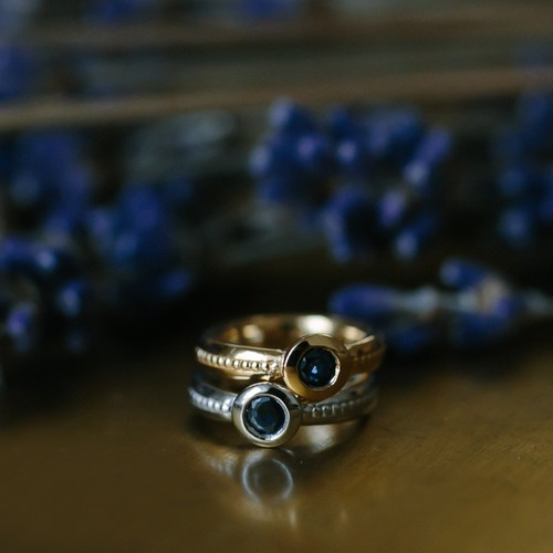 """Coco"" Baby Ring / 9月 サファイア / K18 Yellow Gold"