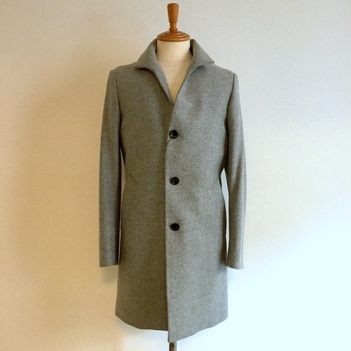 Cashmere Blended Stand Collar Coat Light Gray
