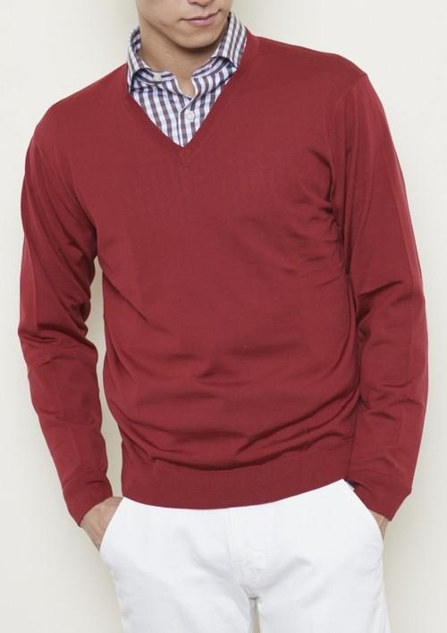 【日本製】30Gウール100%『Super140s』 Vセーター(S~2Lサイズ)ワインレッド