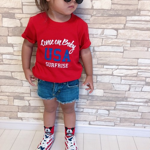 ★Kids★ Come on baby USA Tee - Red