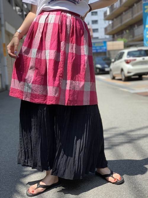 check cotton skirt pink