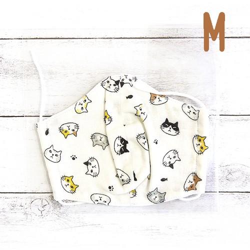 【Ranunculus】立体布マスク(猫)・キッズ~レディースサイズ/マスク