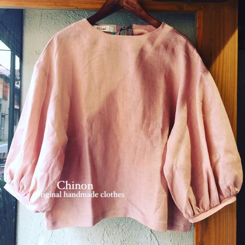 Chinon original handmade アンティークピンクリネンバルーン袖ブラウス
