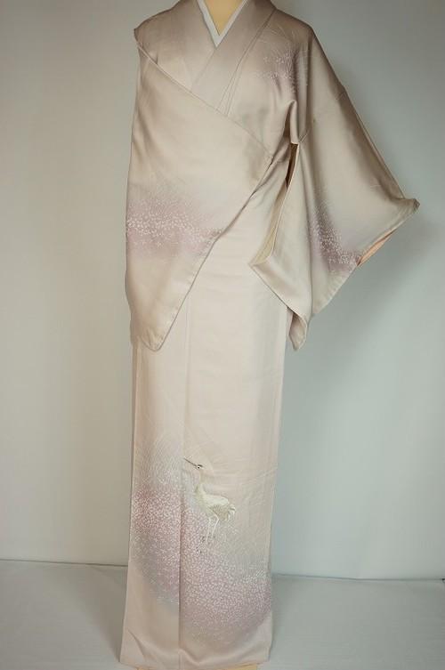 未使用 鶴刺繍 ぼかし染め 付け下げ 正絹 薄桜色 ピンク 101