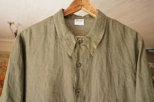90's CP SHADES olive-green linen long-length Shirt