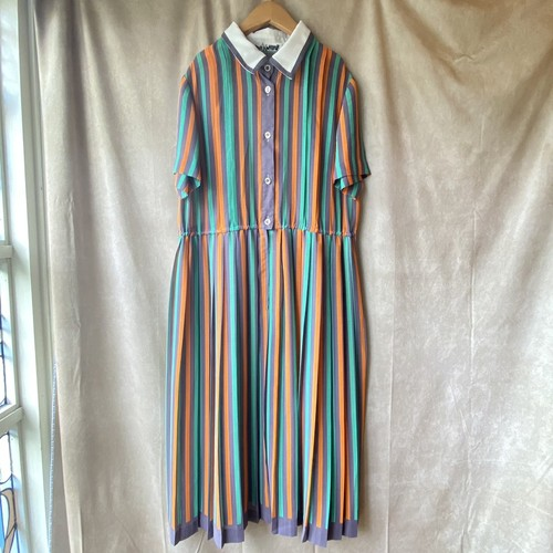 retro stripe summer dress/はんなりレトロなシフォンプリーツワンピース