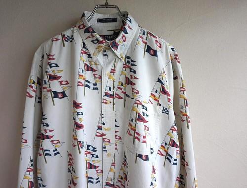 1990's [CHAPS by Ralph Lauren] フラッグ柄プリント コットンボタンダウンシャツ ホワイト 表記(L) チャップス ラルフローレン