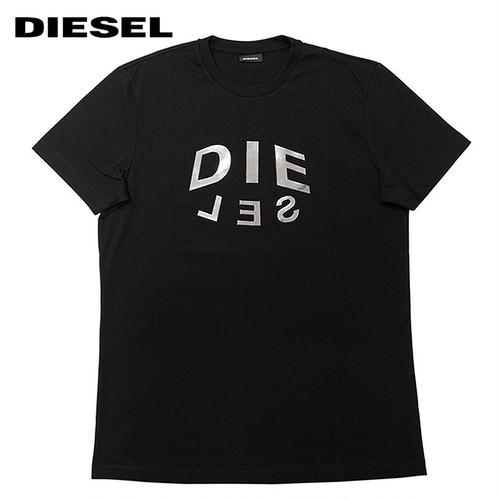 DIESEL ディーゼル T-DIEGOS-A1 A01746 メタリックロゴ グラフィックプリント 半袖Tシャツ 9XXA-BLACK 9229297 [並行輸入]