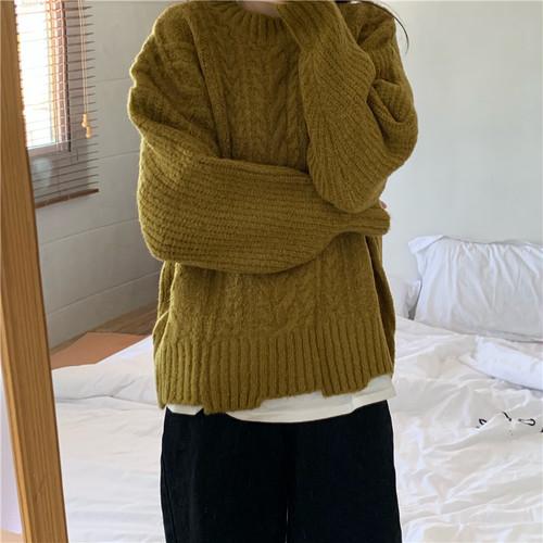 【トップス】韓国風レトロ長袖ゆったり文芸スタイルニットセーター