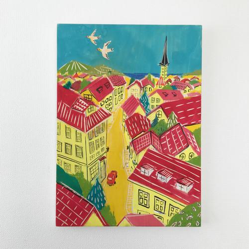 原画「エストニアの街並み」木製パネル