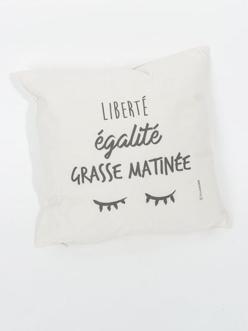 限定1点!フランス小物 オーガニック・コットン製 クッションカバー『LIBERTE EGALITE GRASSE MATINEE』