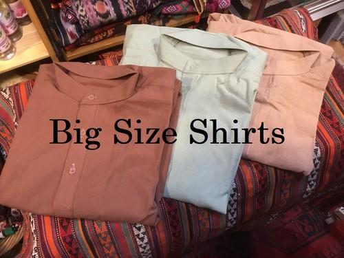 スタンドカラー コットン ビッグシャツ B201819