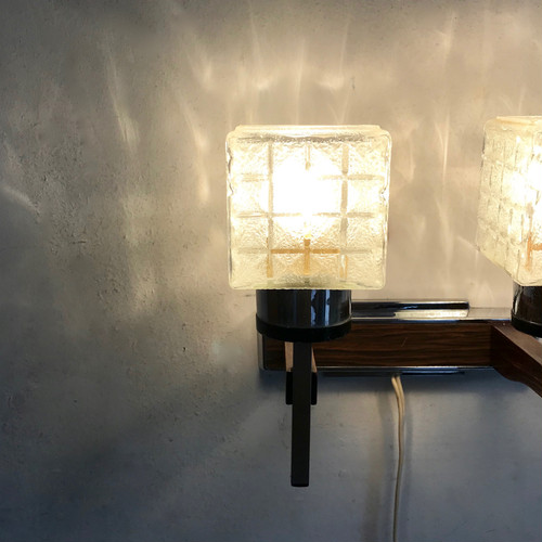 Glass × Metal Rosewood Wall Lamp 1960's オランダ