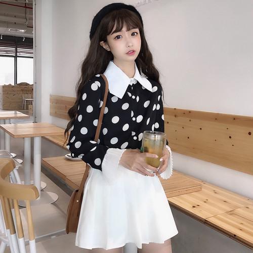 【トップス】ファッションスウィート清新ギャザー飾り長袖ドット柄シャツ