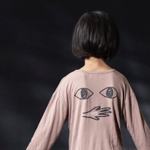 arkakama アルカカマ L/S LOOSE TEE ( E.EYES) col:DUSTY PEACH size:L(6-7Y)(120-130)